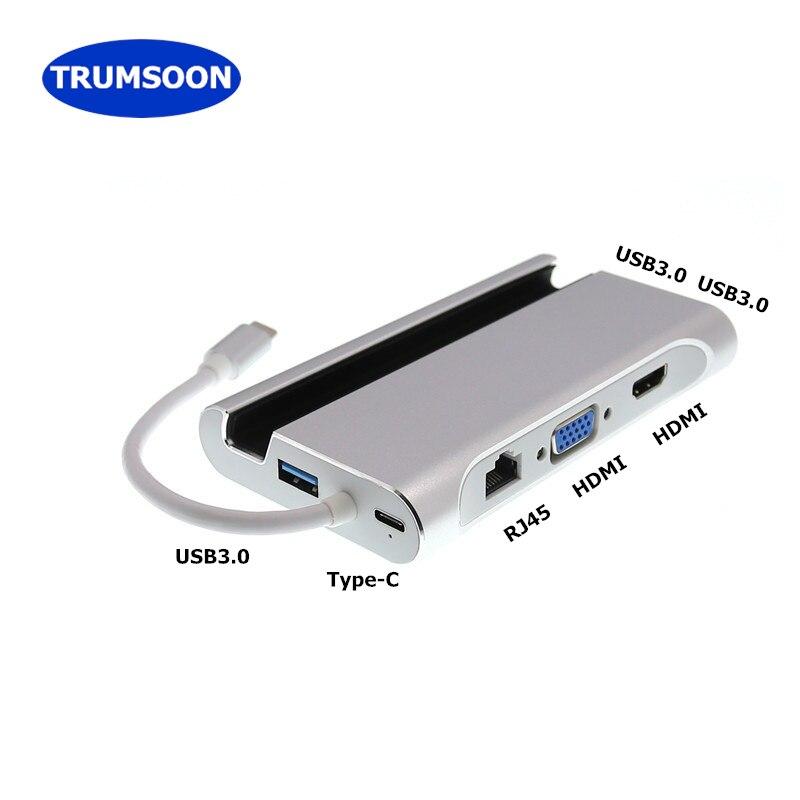 Trumsoon Type-C Thunderbolt to HDMI USB3.0 VGA Hub Adapter RJ45 Type-C Charging for MacBook Samsung S8 Huawei P20 mate10