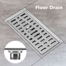20x10cm Rectangle Long Floor Drainer Stainless Steel Tile Insert Floor Drain Bathroom Shower drain Kitchen Waste Grate Strainer цена 2017