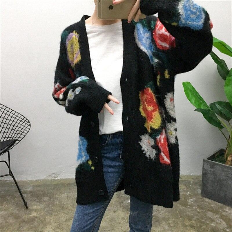 2018 hiver femmes Vintage imprimé fleuri Mohair chandails Cardigans piste concepteur à manches longues femme Streetwear pull vêtements