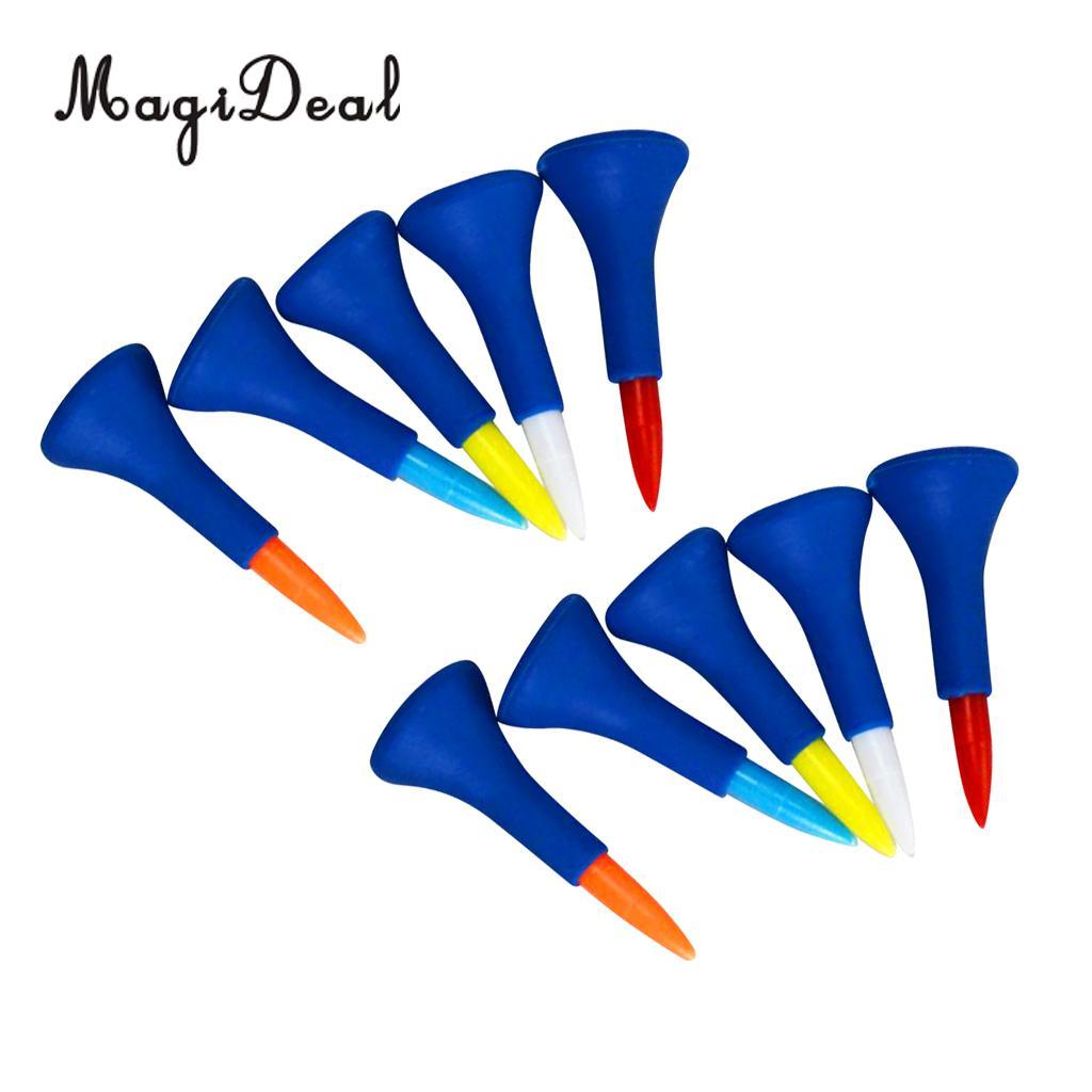 MagiDeal 10 Pieces/Set Soft Rubber Cushion Top Golf Tees Random Color Short