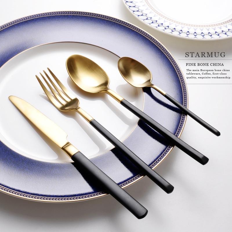 304 Stainless Steel Tableware Set Black Handel Mirror Gold Dinnerware Sets Knife Forks Cutleries European Western Food