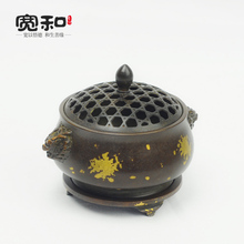 Pure copper censer Dragon ears brass plated incense coil furnace xuande fragrance road