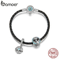 BAMOER High Quality 925 Sterling Silver Blue Eye Clasp Anchor & Rope Strand Charms Bracelets for Women Silver Jewelry SCB819