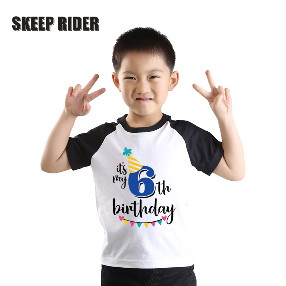 Birthday Boy Letter Shirt Short-Sleeve Raglan Print Black Baby Cotton Summer T0420-040
