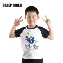 Black Raglan Short Sleeve Birthday Boy Shirt Super Soft Cotton Letter Print Summer Baby Tee Shirt T0420-040 striped raglan sleeve letter print tee