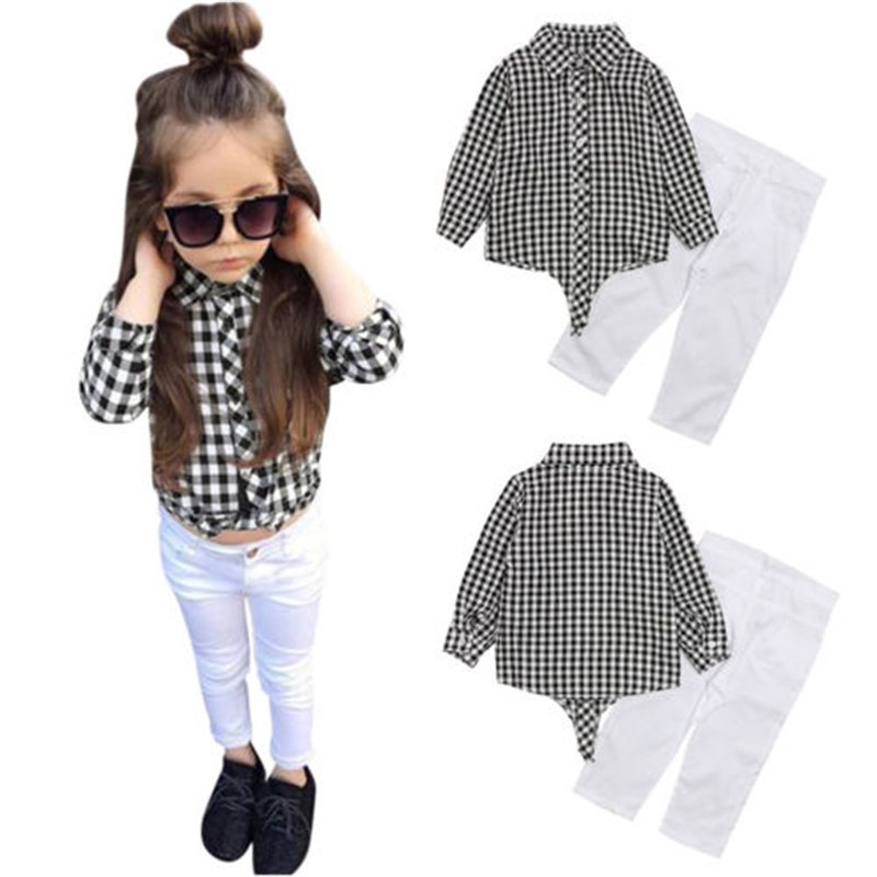 3-9Y Toddler Kid Baby Girls Shirt Tops T-shirt Pants Outfits Clothes Black White Plaid Blouses Set