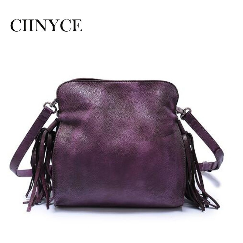 Luxury Women Genuine Leather Handbags Ladies Retro Elegant Shoulder Messenger Bag Cow Skin Handmade Womans Soft tassel Bags vintage women genuine leather handbags ladies retro elegant shoulder messenger bag cow leather handmade womans bags