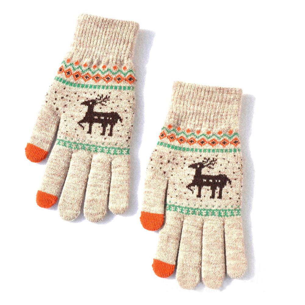 MISSKY Womens Men Gloves Winter Warm Touch Screen Gloves Wool Knitted Christmas Elk Gloves Full Finger Gloves