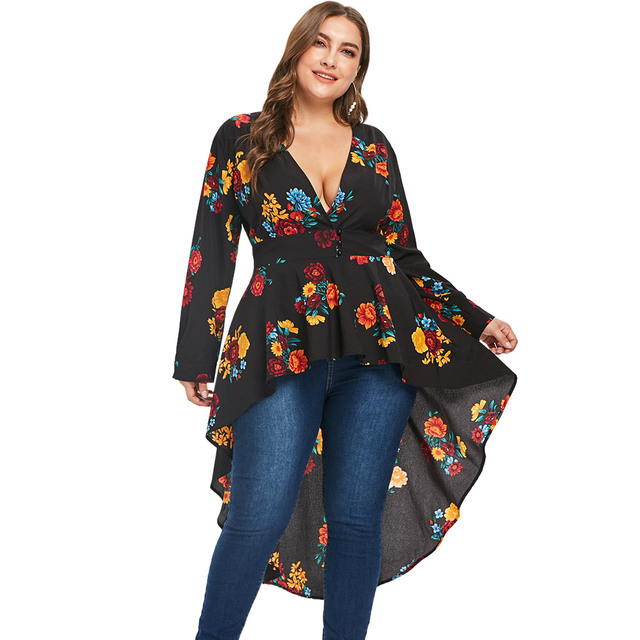 ZAN.STYLE Plus Size Plunging Neckline High Low Women Floral Blouse ...