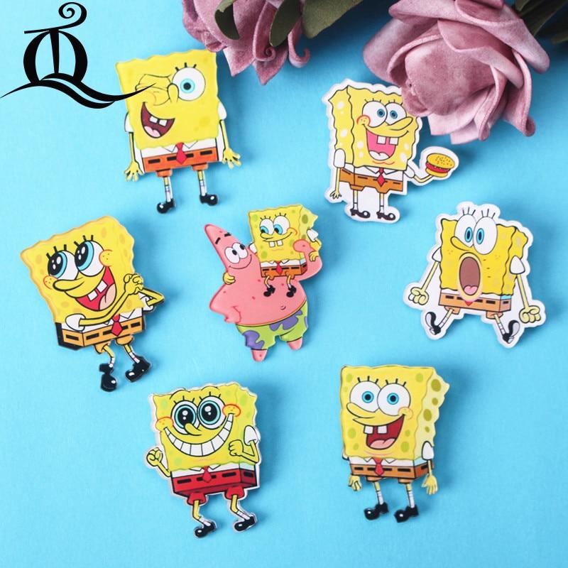 JL 1PCS MIX  Spongebob Cartoon Icons On The Pin Kawaii Icon Badge Bacges On Backpack Badges For Clothing Acrylic Badges Z44