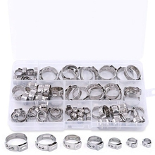 70Pcs/Set Single Ear Crimping Hose Clamp Clamps Fuel Assortment For Hydraulic 5.8-21Mm