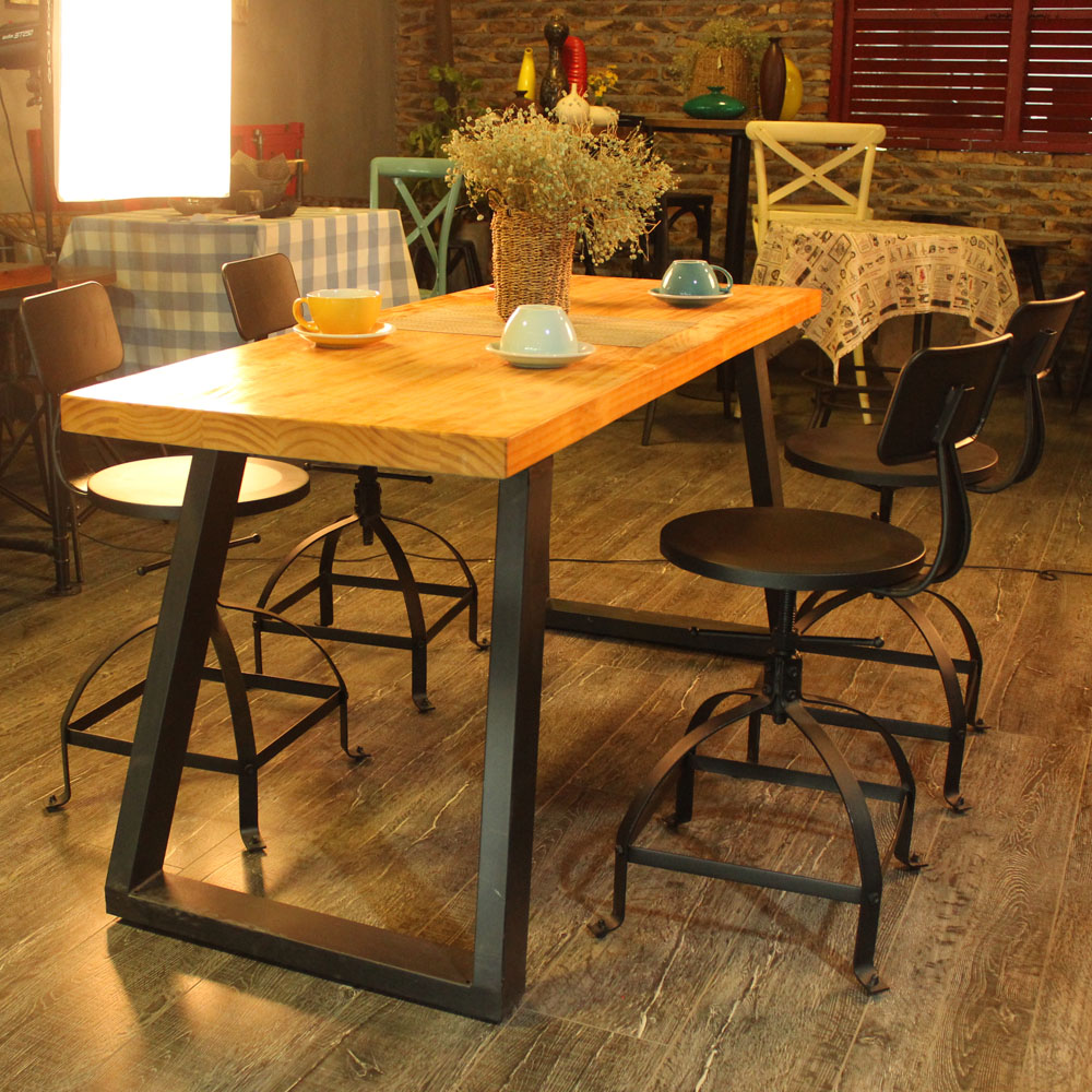 Industrial Style Metal Bar Stool Ajustable Height Swivel ...