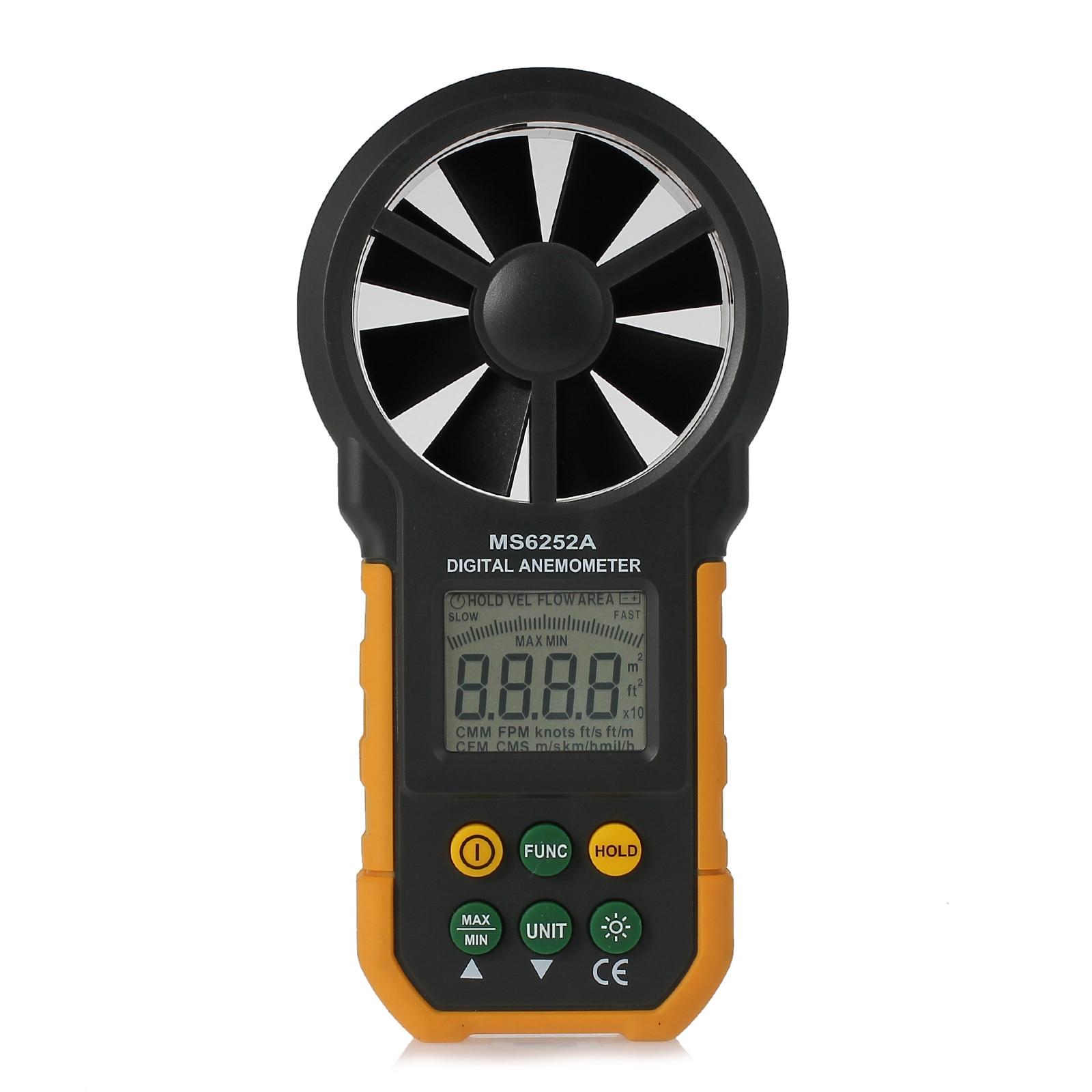 Appareil de contrôle numérique de compteur de vitesse de vent d'anémomètre de Neoteck avec l'affichage de contre-jour d'affichage à cristaux liquides 6252A multifonction Anémomètre numérique Testeur - 5