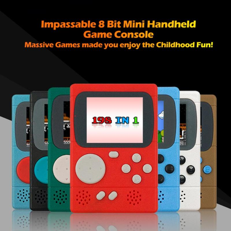 ALLOYSEED Portable Pocket Game Player new 2.4 inch TFT Video Game Console Built-in 198 Classic Games Best Gift for Child player