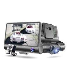 Car DVR 3 Cameras Lens 4.0 Inch Dash Camera Dual With Rearview Video Recorder Auto Registrator Dvrs Cam
