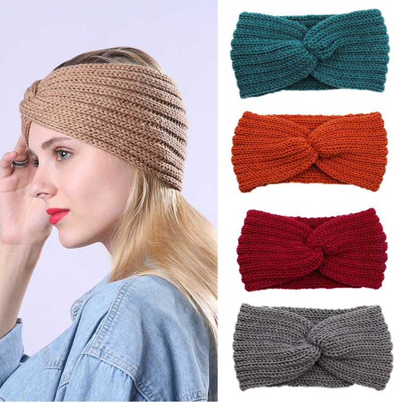 Hot Elastic Wool Turban Twist Warm Headband For Women Winter Cross Knit Hairband Comfortable Female Hair Accessories