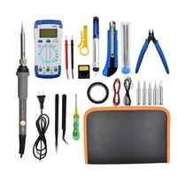 Electric Soldering Iron Tin Kit With Adjustable Temperature Box Digital Multimeter Electronic Soldering Set Anti-static Tweezers