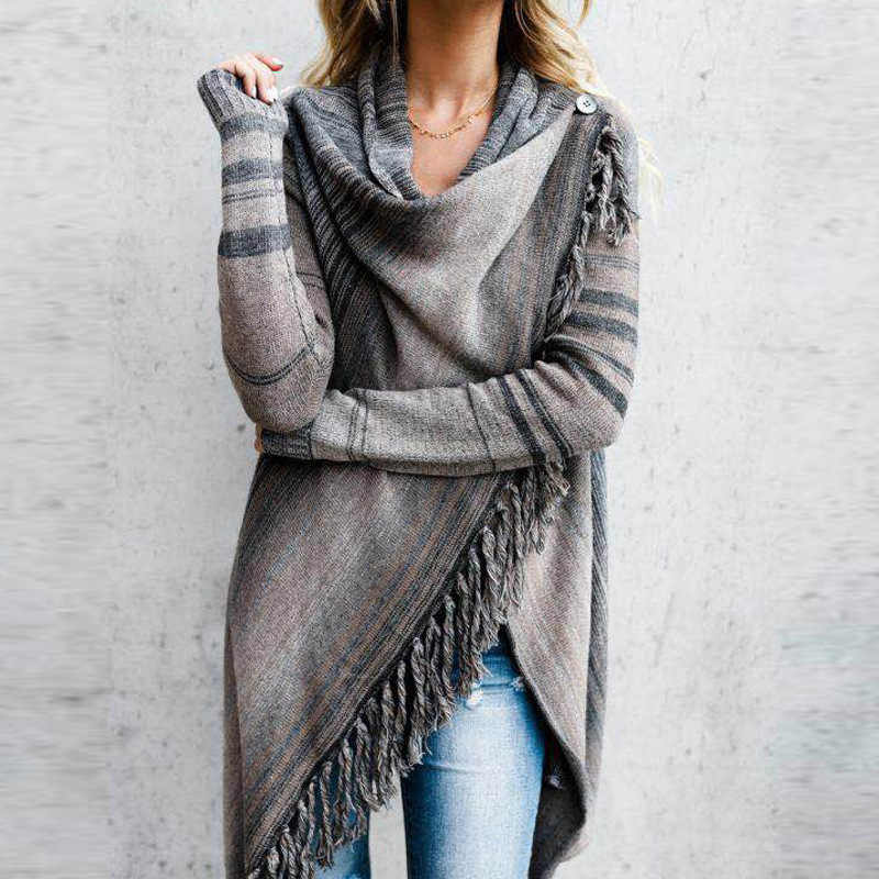 UGUEST Women Tassel Knitted Sweater Poncho Casual Stripe Irregular Loose Cardigan Cape Coat Tops Autumn Winter