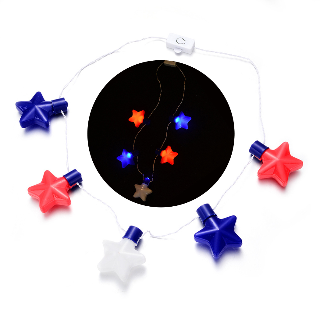 LED Necklace Decorative Star Shape Light Up Necklace Glow Party Favor For Kids