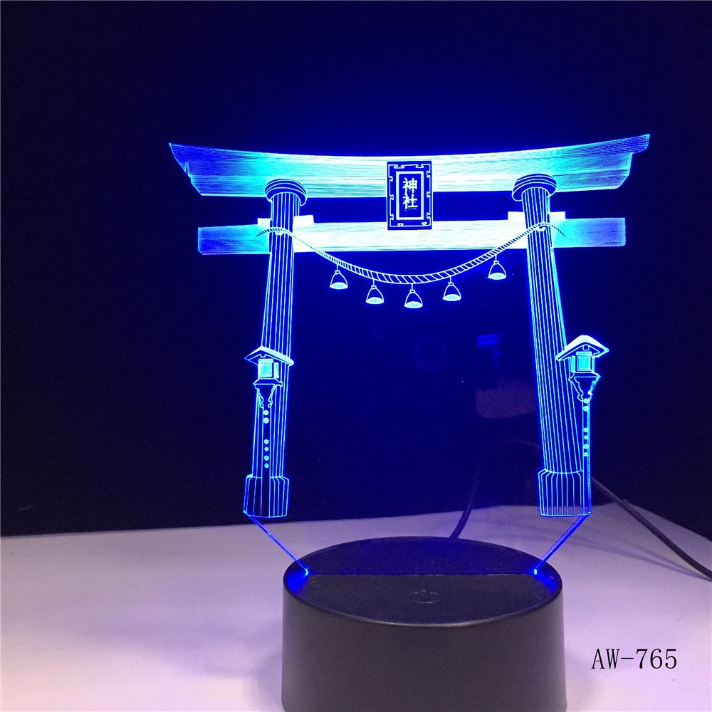 Japanese Shrine Jinja USB 3D Led Night Light Multicolor RGBW Festival Gift Decorative Lights Desk Lamp Bedroom Drop Ship AW-765