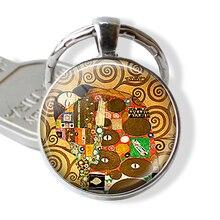 Gustav Klimt Art Key Chain Ring Klimt's Fulfillment Keychain Art Glass Dome Klimt Keyring Couple Lovers Romantic Valentine Gift gustav klimt drawings