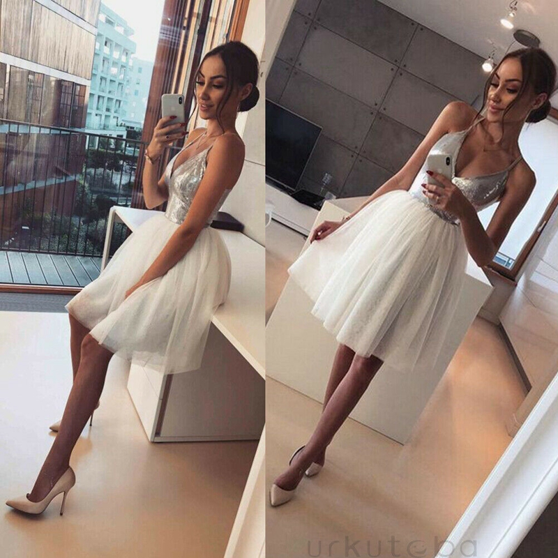 Women Sequin Tutu Tulle Deep V Neck Glitter Shiny Dress Evening Party Mini Ball Gown Dresses