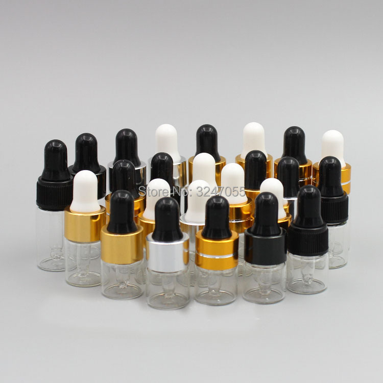 1ml2ml3ml Clear Glass Cosmetic Essential Oil Serum Sample Bottle, Small Transparent Reagent Dropper Fragrance Pipettes Vials