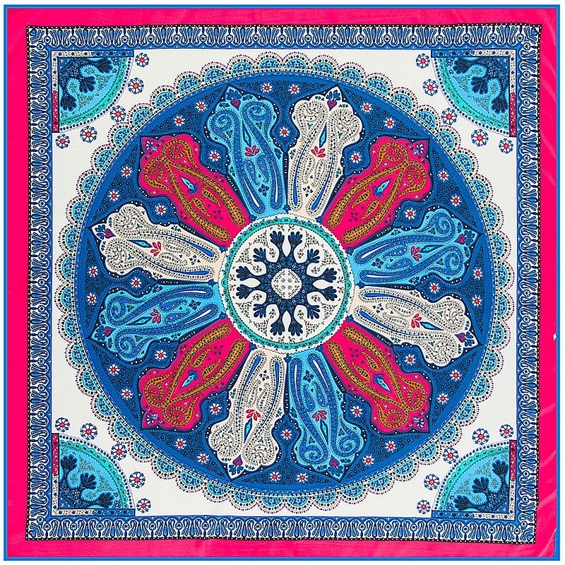 Ethnic Paisley Print Silk Square Scarf For Women Foulard Office Lady Elegant NeckerChief Stole Wraps Hijab Summer Silk Scarfs