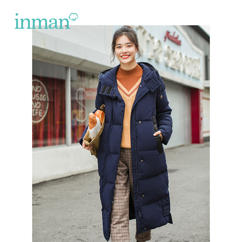 INMAN Winter New Arrival Hooded Retro Warm Windproof Long Section Woman   Down     Coat