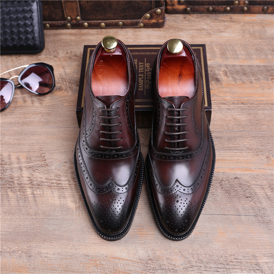 Fashion Brown Tan  Black Goodyear Welt Shoes Oxfords Mens Business Shoes  Genuine Leather Dress Shoes Male Wedding Shoes-in Formal Shoes from Shoes  on ... 4b5bbe85a34b