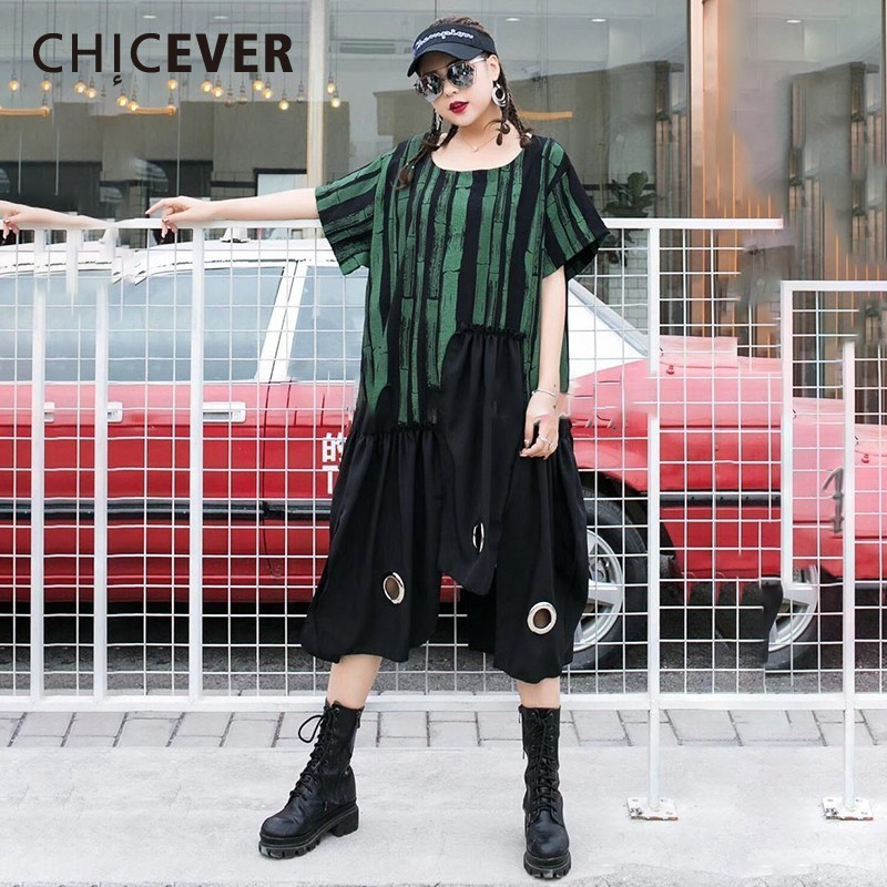 CHICEVER Spring Hit Color Print Dress For Women O Neck Short Sleeve Irregular Hem Patchwork Sequined Mid-calf Women's Clothing