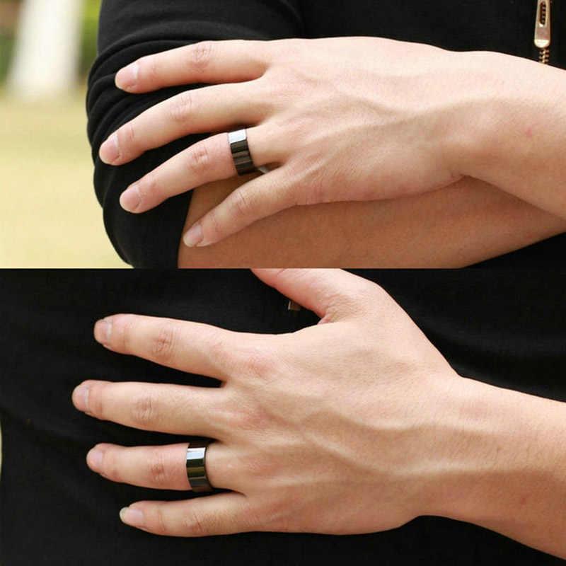 حساسية الحرة بسيطة التيتانيوم الأسود الساخن بيع الهدايا الأزياء الرجال المفضل 1 قطعة رشيقة 2018 جديد وصول الزفاف جميلة حلقة