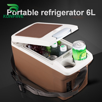 12V DC Car Refrigerator 6L Multi Function Fridge Vehicel Protable Refrigerator Freezer Cooler Brown low energy 28W