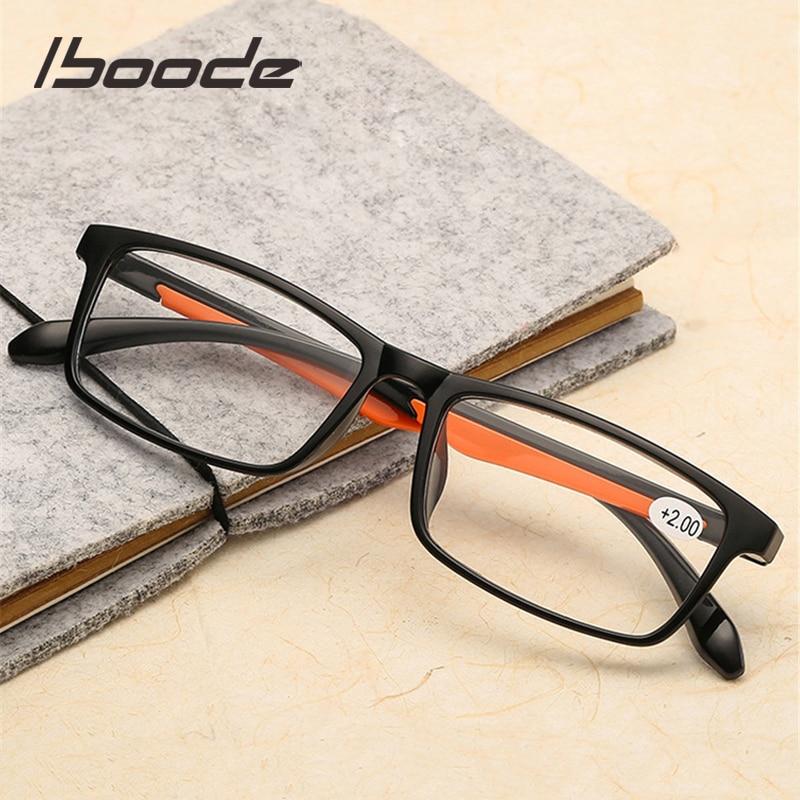 Iboode TR90 Ultralight kadın erkek okuma gözlüğü Retro şeffaf Lens presbiyopik gözlük kadın erkek okuyucu gözlük + 1.5 2.0 3.0 4.0
