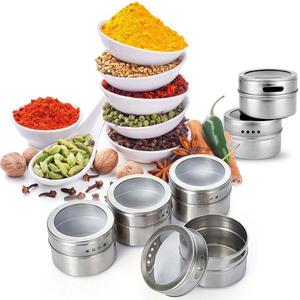 Image 3 - 9/12 Pieces Magnetic Spice Jars Set Stainless Steel Salt And Pepper Spray Shakers Spice Rack Seasoning Box Condiment Container