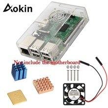 Aokin для Raspberry ABS защитный чехол с охлаждающим вентилятором и радиатором 1 алюминий+ 2 Медь для Raspberry Pi 3 B+/3/2/B