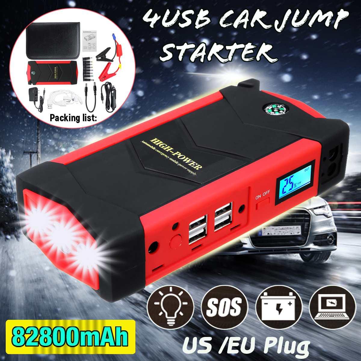 Démarreur de saut de voiture d'urgence 82800 mAh dispositif de démarrage batterie externe Portable 4USB 12 V 600A chargeur de voiture étanche Booster de batterie de voiture