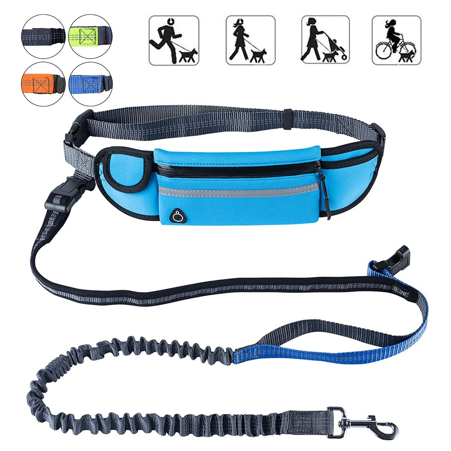 Hands Free Dog Running Leash With Waist Pocket Adjustable Belt Shock Absorbing Bungee Fits Up To 45 Inch Waist