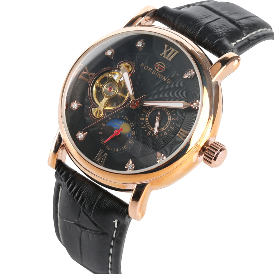 Automatic Mechanical Watches For Men Genuine Leather Band Black Color Male Clock Timepieces Casual Sport Male Mechanical M