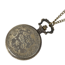 лучшая цена Retro gold mechanical pocket watch retro Roman dial steampunk mechanical pocket watch alloy necklace