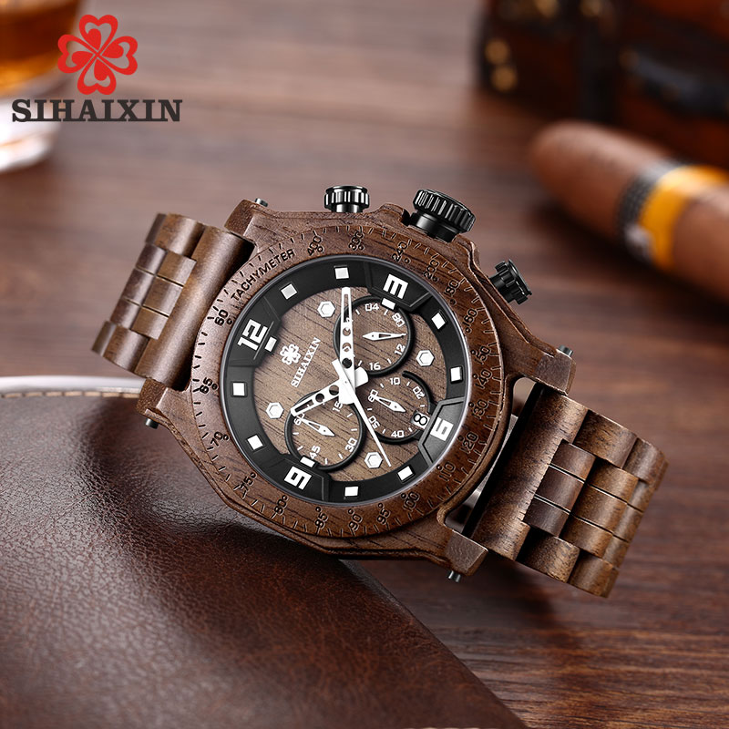 Search For Flights Sihaixin A19g-2 Nature Wood Watch Men High Quality Waterproof Date Business Quartz Male Clock Christmas Gift Erkek Kol Saati Neither Too Hard Nor Too Soft Watches