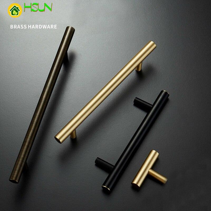 1 Pc Gold Cabinet Handles Furniture Drawer Pulls Solid Brass Kitchen Cupboard Cabinet Door Hardware Knobs Accessories