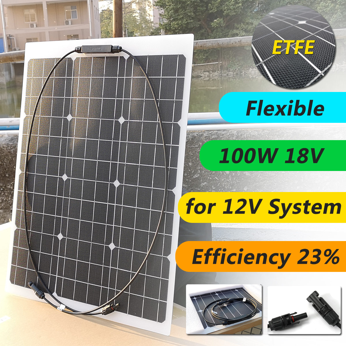 Flexible Solar Panel 18V 50W Solar Charger For 12V Car Battery ETFE Monocrystalline Cells For Hause,boat,roof with MC4 CableFlexible Solar Panel 18V 50W Solar Charger For 12V Car Battery ETFE Monocrystalline Cells For Hause,boat,roof with MC4 Cable