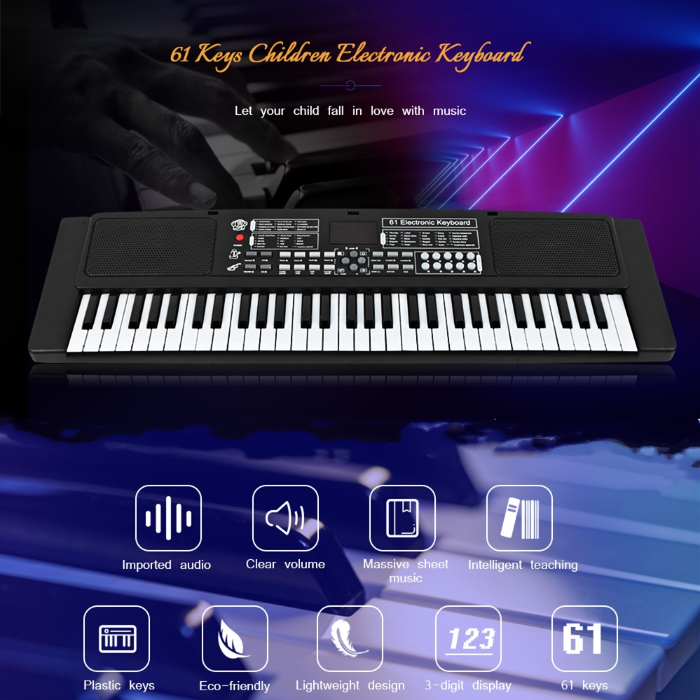 61 Keys Electronic Piano Keyboard With Microphone Toys Musical Instrument Educational Organ Music Toys Kids Early Learning Toy