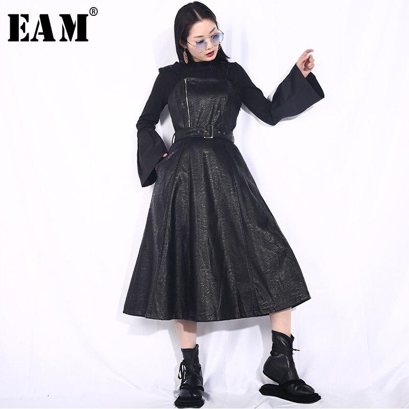 [EAM] 2019 New Spring Summer Strapless Spaghetti Strap Black Pu Leather Waist Belt Loose Big Hemline Dress Women Fashion JD03