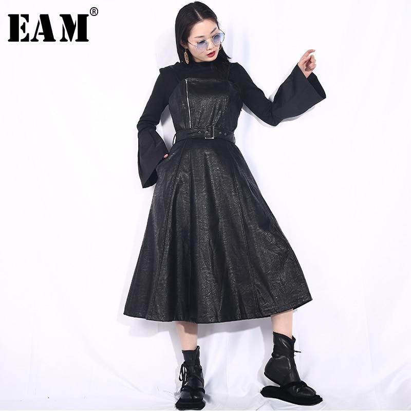 [EAM] 2020 New Spring Summer Strapless Spaghetti Strap Black Pu Leather Waist Belt Loose Big Hemline Dress Women Fashion JD03