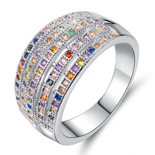 Silikolove 1pcs Fashion Multicolor Zircon Smooth Simple Couples Rings Explosion Models Hot Jewelry Bijouterie Anillo
