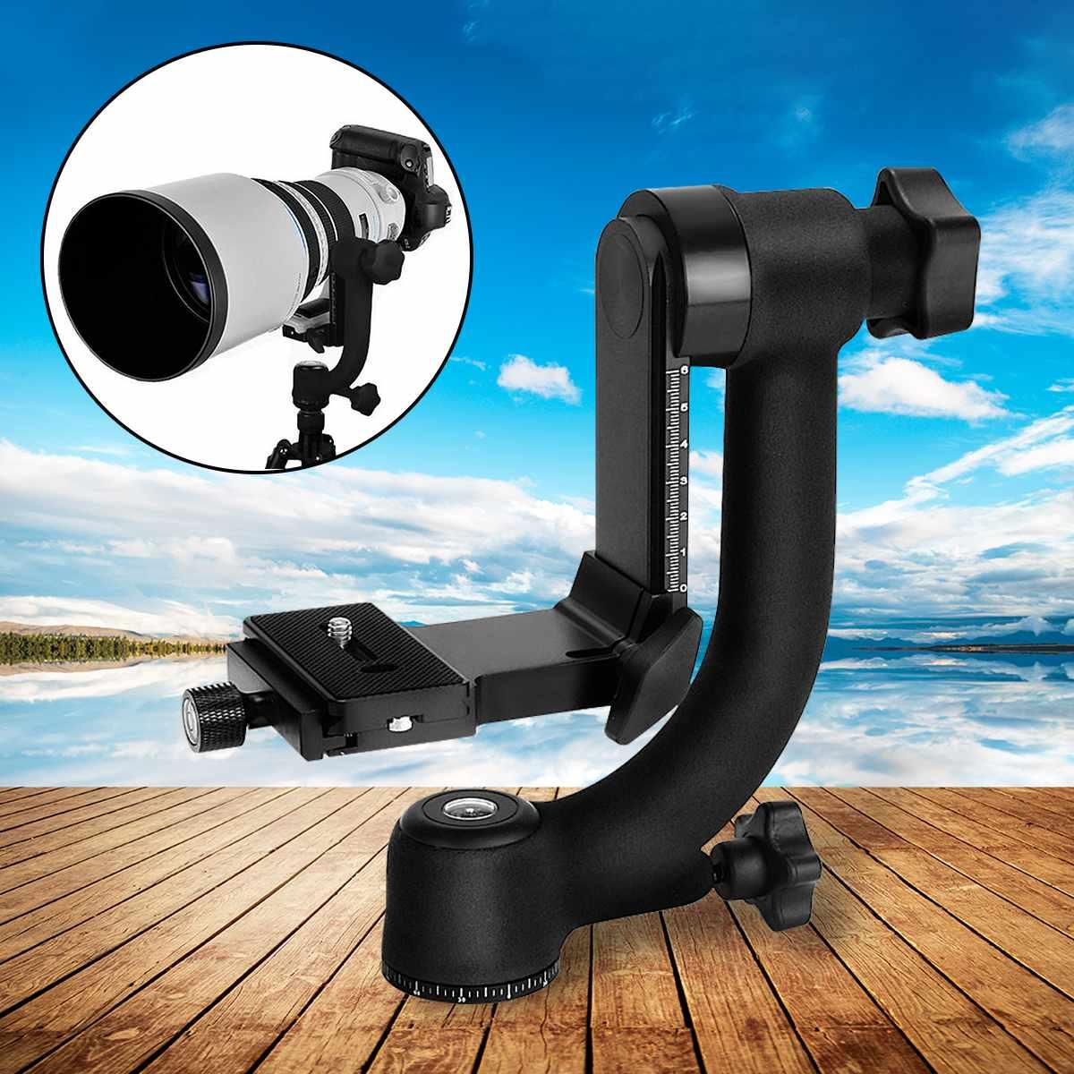 360 degrés-pivotant panoramique cardan trépied rotule en alliage d'aluminium noir pour caméra téléobjectif 210x75x210mm charge 18 kg