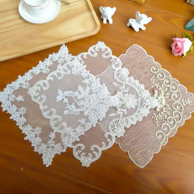 Корейский Тюль Кружева Вышивка кисточкой стол Coaster бисером свадебные салфетки Рождественская салфетка под приборы чайное полотенце Doily кухня домашний декор|Коврики и подложки|   | АлиЭкспресс