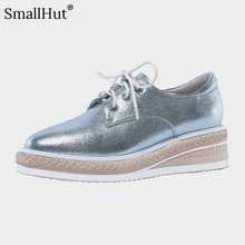 Women Flat Platform Genuine Leather Shoes Ladies Lace up Casual Shoes Fashion Women Blue Silver Square Toe Leather Flats E022 цены онлайн